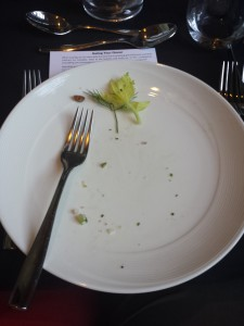 My empty plate.  Each course resulted in this same picture.